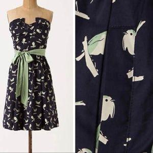 ANTHROPOLOGIE Sing Sweetly Bird Print Dress (R40}
